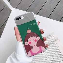 capas bonitos do telefone da menina Desconto Para iphone xr xs max phone case bonito verde menina gorda 6 7 8 x plus espelho de maquiagem casos de telefone celular de borda macia