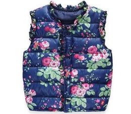 Buena calidad Otoño Primavera Moda Niños Chaquetas Dulce Floral Abajo Algodón Chaleco de las muchachas calientes Niños Chaleco Ropa de los bebés desde fabricantes