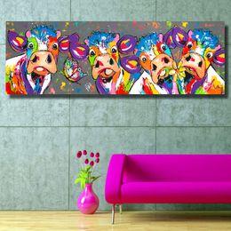 2019 lona de pintura a óleo de girassol Artista Vrolijk Schilderij Arte Da Parede Da Lona Pintura Animal Imagem Cartaz Cópias Vaca Pintura Home Decor No Frame Dropshipping