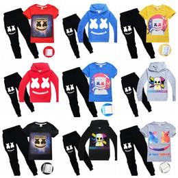 Комплект мальчика футболка онлайн-DJ Marshmello Mask T-Shirt Набор мальчиков Толстовки Детская одежда Верх для девочек Толстовки Спортивные костюмы Marshmello DJ Headgear