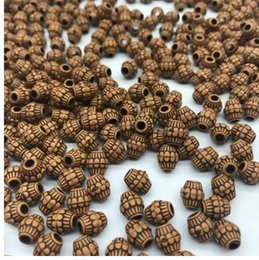 2019 branelli acrilici di velluto all'ingrosso 7 * 8mm 100 pz / lotto a buon mercato caldo acrilico perline imitazione perline di legno forma rotonda adatto per mano fai da te collana braccialetto monili che fanno