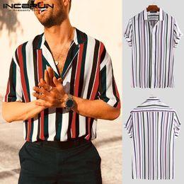 полосатая рубашка с коротким рукавом Скидка INCERUN Пляжная гавайская рубашка в полоску Мужская воротник-стойка Модные уличные блузки 2019 полосатая рубашка с короткими рукавами мужские рубашки