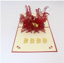 carving chicken Promo Codes - Hot Sales Free shipping Wholesales Paper Carving 3D Paper Cut Good Luck Blessing Festival Greeting Card Gift Lucky Chicken