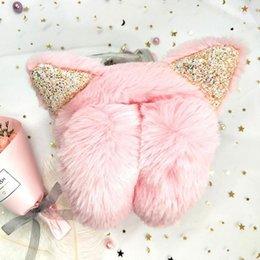 Linda diadema negra online-Nuevo invierno acogedor oído calentadores de banda de sujeción manguitos del oído lindo para las mujeres orejeras en forma de luz de color rosa Gris Marrón Negro albaricoque