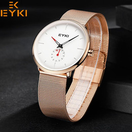 Canada EYKI luxe Top Marque Analogique En Acier Inoxydable En Acier Inoxydable Mesh Quartz Femmes Montres Hommes Femmes Indépendante secondes Robe Horloge Relogio Mujer supplier eyki stainless watches Offre