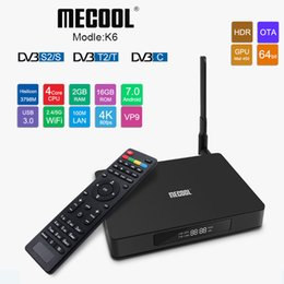 Leitor de áudio wifi on-line-Mecool K6 Inteligente Box TV DVB S2 T2 C Android TVbox Banda Dupla Wifi 4 K Media Player Hisilicon HI3798M Quad-core Mini PC com Display de Áudio SPDIF