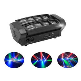 dj luces de carretera Rebajas Mini LED 8x10W RGBW Cabeza móvil Luz LED Spider Beam Iluminación de escenario DMX 512 Luz de araña Bueno para DJ Fiesta en club nocturno