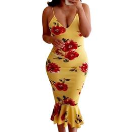Argentina 2019 Summer Runway Amarillo Negro Vestidos Rosa Impreso Sexy Correa de espagueti Vestidos de cola de pescado Vestido de sirena a media pierna de las mujeres supplier yellow fishtail dress Suministro