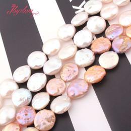 Argentina 13-14 mm botón de la moneda de agua dulce perlas de perlas de piedras naturales para DIY collar pendiente joyería que hace 14.5