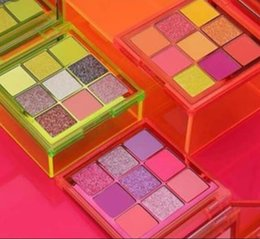 Sombra de olhos cor de rosa on-line-3 PCS / New Beleza Maquiagem Dos Olhos Beleza Néon PINK ORANO VERDE Eyeshadow Palette Obsessions 9 Cores Shimmer Sombra de Olho Matte por epacket