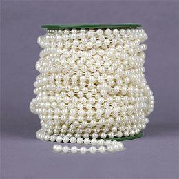 Guirnalda recortar online-25M 6mm Pesca Línea perlas artificiales cadena de los granos recortar Garland para la boda joyería nupcial ramo de flores Decoración SH190920
