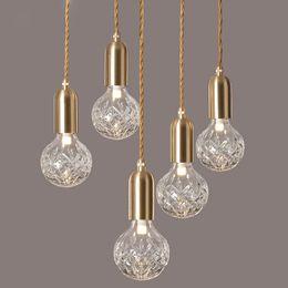 Bola de cristal de cristal colgante LED Luz Loft Diamante Burbuja Espuma de vidrio Lámpara de techo Restaurante Dormitorio Cafe Decoraciones desde fabricantes
