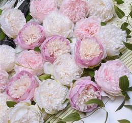 2019 grandi teste di fiori artificiali Artificiale peonia testa di fiore da sposa fai da te copricapo fiore di seta rosa testa grande simulazione arredamento finto fiore materiali da parete GB226 grandi teste di fiori artificiali economici
