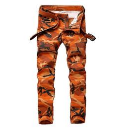 Calças exército laranja on-line-Camuflagem dos homens laranja Motociclista Jeans Calças Motocicleta Camo Slim Fit Legal Design de Moda Fino Exército Hip hop Denim Calças