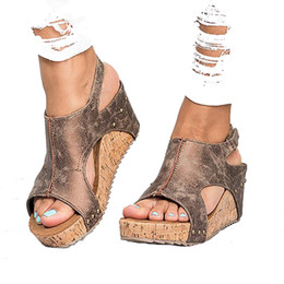 Sandales gladiateur à la cheville en Ligne-Les nouvelles chaussures compensées d'été de Sandales Sandales à imprimé léopard pour les femmes, sandales grande taille