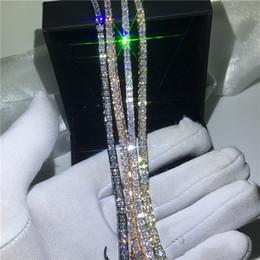 elos em forma de diamante para corrente Desconto 4 cores amantes pulseira de tênis de diamante branco ouro preenchido partido pulseiras de noivado para casamento mulheres accessaries