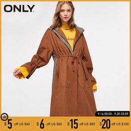 2019 bonés das mulheres da trincheira As mulheres só Emendados Hat solto casaco de capuz Outono Trench Coat Jacket   118336580 bonés das mulheres da trincheira barato