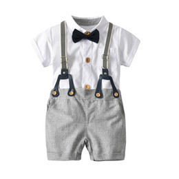 party dress white boys Promo Codes - Boy White Shirt Bib Bow Tie Suit Set Kids Gentleman Three-piece Suit Baby Birthday Party Dress Children's Suit Set Kids Clothing