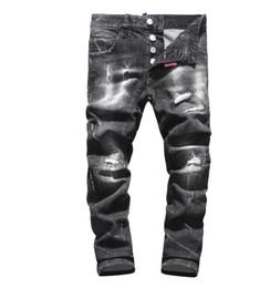 zerrissenen jeans für männer Rabatt Neue 2019 Männer zerrissene Denim zerreißende Jeans-Marine-Baumwollmode Enge Frühlingsherbst-Männerhose A8004 PHILIPP PLEIN DSQUARED2 DSQ2 D2