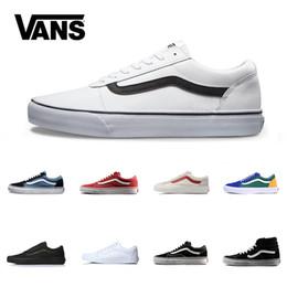 3958ca3a657 Marca Vans Skool Velho Para Mulheres Dos Homens Sapatos Casuais Sapatilhas  de Lona Preto Branco Vermelho Azul Moda Barato Esporte Skate Shoe Frete  Grátis