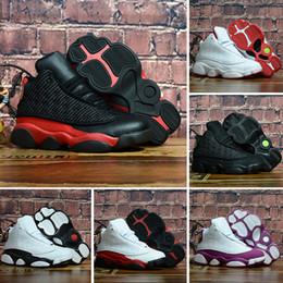 89a25ecf9f806 Nike air jordan 13 retro Nouvelle couleur Blanc Classique Enfants Forces  Triple Blanc Noir Rouge Low Cut Enfants Garçon Filles Sport Sneakers  Chaussures De ...