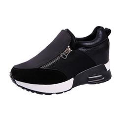 Argentina Zapatillas de deporte de las mujeres Grueso Fondo Denim Wedge Mujer PU + Zapatos de lona Zapatillas de deporte de las mujeres Plataforma transpirable Zipper Zapatos casuales cheap denim canvas wedges shoes Suministro