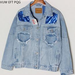 denim blue sequin jacket Desconto 2019 Mulheres Estudante Casaco Básico Versátil BF Moda Curto Denim Jaqueta De Lantejoulas Feminino Denim Jaqueta Azul Casaco Curto Cor Sólida