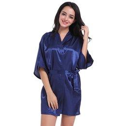 cf0f0fd1db Women Thin Cardigan Short Simulation Silk Sleepwear Bathrobe Elegant  Nightgown Summer Kimono Robe discount sexy elegant sleepwear