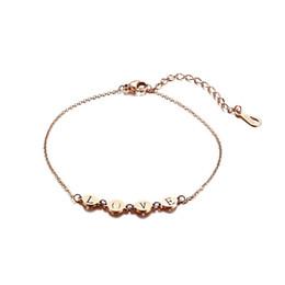 Goldliebes-fußkettchen online-Dainty Metallic Love Fußkettchen für Frauen Rose Golden Edelstahl Ankle Girl Foot Schmuck Einstellbar