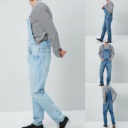 2019 botões de suspensão jeans Retro Macacão Jeans Homens Magro One Piece Jeans Calças Casual Jeans Em Linha Reta Botão Correia Pant Bolsos Suspender Calças botões de suspensão jeans barato
