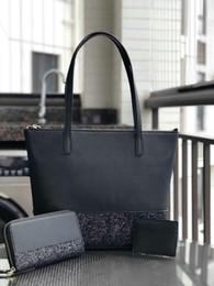 Conjuntos de bolsos online-Diseñador de la marca de las mujeres más grande brillo monedero conjunto Patchwork hombro brillante crossbody bolsas de compras pu mujeres bolso totes
