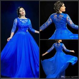 Nuevo Diseño Formal Vestidos De Noche Sheer Del Azul Real Con 3 4 De Manga Larga Vestido De Fiesta Vestidos Tamaño Reino Unido Plus Para Las Mujeres