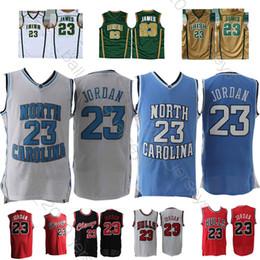 Tacchi di catrame online-North Carolina Tar Heels 23 Michael Jersey 23 LeBron James Maillots de basket Maglie uomo CALDO