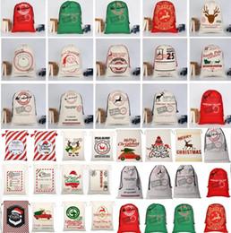 2020 Christmas Canvas drawstring bag Santa Sack Drawstring Bags Reindeers Santa Sack Bags Canvas Canvas Bolsa de decoración navideña desde fabricantes