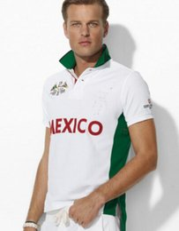 Latas de bandera online-Hombres de lujo que compiten con Polos Gran Pony Bordado Bandera del país México SUI España CAN EE.UU. NZ GER NORUEGA ITA Rusia GBR Polo Shirts