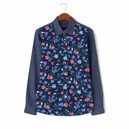 Argentina Venta al por mayor Mujeres Imprimir Camisa de mezclilla de manga larga camisas casuales Turn Down Collar Blusa Otoño Damas Floral Blusas blusa Suministro