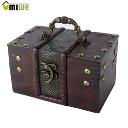 old jewelry boxes Coupons - Umiwe Women Brown Retro Old Time Stye Wooden Vintage Jewelry Gift With Handle Necklace Rings Earrings Storage Case Box