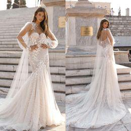 vestidos de noiva berta lantejoulas Desconto Berta lantejoulas sereia vestidos de noiva 2019 com cabo querido pescoço apliques Lace Sweep Trem vestido de noiva robe de marie BC2073