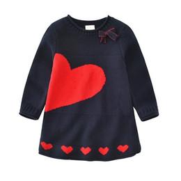 padrões de confecção de malhas de roupas de bebê Desconto Primavera baby girl camisola vestido de manga longa padrão de algodão crianças camisola de malha crianças roupas vestido de menina crianças roupas escola