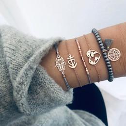 bracelet d'ancrage à la main Promotion 5 Pcs Ethnique Fatima Main Gland Coeur Corde Bracelet De Mode Pierre Perles Ancre Chaîne Bracelets Femmes Bijoux Accessoires Cadeaux