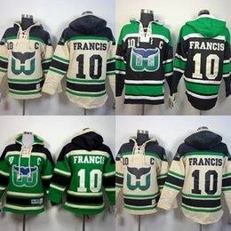 Mens Womens Youth Kids Hartford Whalers 10 Ron Francis Beige Verde Best Quality Hooded Hockey su ghiaccio con cappuccio Pullover Felpe cheap kids hockey hoodies da hockey per bambini fornitori
