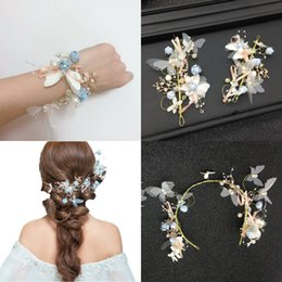 flower tiara crown headpiece Promo Codes - Beautiful 3 Pieces Flowers Hair Accesorries Headpieces Tiara Crowns Wrist Band Hair Piece Hairbands CPA3168
