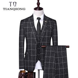 breast vest Promo Codes - Blazers + Pants + Vest 3 Pieces Set 2019 Men's Fashion Business Suits with Pants Plaid Suit Jacket Coat Trousers Waistcoat