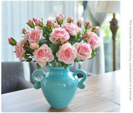 coloridas flores color de rosa Rebajas 5 unids / lote Vivid Real Touch Rose Colorida Flor de Seda Artificial de Alta Calidad para la Decoración Del Banquete de Boda 2 Cabezas / ramo