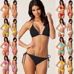 Einfache badebekleidung online-Plain Badebekleidung Frauen Bikini Badeanzug sexy feste brasilianischen Badeanzug einfache Art und Weise falten Schlinge Riemen Tankini Set L-JJA2398