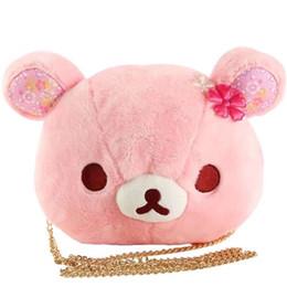 niedliche puppentaschen für mädchen Rabatt Cute Sakura Pink Bear Plüschtier Puppen Rilakkuma Bears Weiche Kuscheltiere Handtasche Baby Kinder Umhängetaschen Mädchen Geburtstagsgeschenke