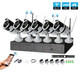 cctv sistemas dome exterior Desconto 6CH 1080p áudio bidirecional HD Sistema de Segurança CCTV Sem Fio Kit NVR P2P Indoor IR Ao Ar Livre Visão Noturna 2.0MP IP Câmera À Prova de Intempéries WIFI