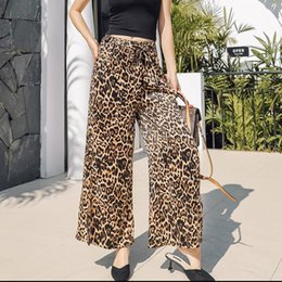 0c0af622f2 Pottis 2019 spring and summer new fashion casual wild loose leopard wide-leg  pants holiday seaside beach split trousers discount panel wide leg trousers