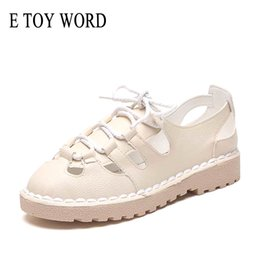 sandalias planas romanas con cordones Rebajas E TOY WORD Hollow Out Roman Sandals Women Summer Lace Up Sandalias planas Fondo Grueso 2019 New wild Korean women