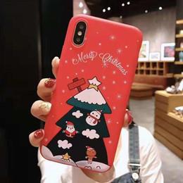 Capas protetoras bonitas do telefone on-line-Telefone de natal caso bonito papai noel animal árvore tpu capa protetora presente à prova de choque para ip x xs xr max saco de opp 300 pcs